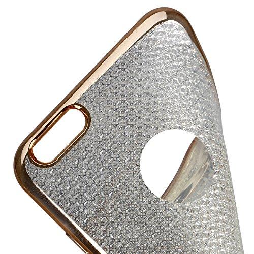 Ukayfe iPhone 6/6S plus 5.5 Copertura, Moda Confine di Placcatura Design di Bling Custodia Bumper Ultra Slim Morbido Soft TPU Gel Silicone Elegante Trasparente Flessibile Antiurto Cassa Protettivo Ski oro Tyrant 4#