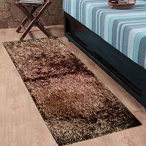 Cloth Fusion Premuim Shaggy Carpet for Living Room 2 Feet x 4.5 Feet (Camel Brown)