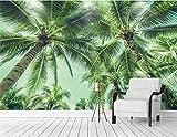 YShasaG Seidenwandbild Tapete für Wände 3D Kokosnuss-Baum-Palme-Foto-Wandgemälde prägte Fernsehhintergrund-Küchen-Studien-Schlafzimmer,396cm*280cm