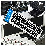 2 Stück Kennzeichenhalter Auto Rahmenlos 2 X 50cm x 10cm OHNE RAHME Klettband selbstklebend WEIß für alle Autos