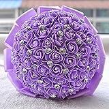 GJX Spilla Fatta a Mano Bridal Bouquet Raso Rose Fiori Strass Perle Decorazione di Cerimonia Nuziale Regali di Nozze (Color : Viola)