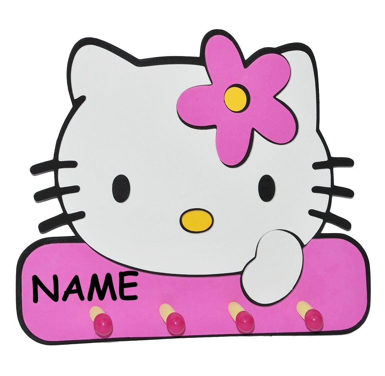 3-D Garderobe - Hello Kitty incl. Namen - mit 4 Kleiderhaken ...