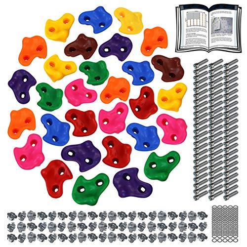 ALPIDEX Kinder Klettergriffe Klettersteine , belastbar bis 200 kg , inklusive Befestigungsmaterial, Verschiedene Stückzahlen bunt - 30 Stück