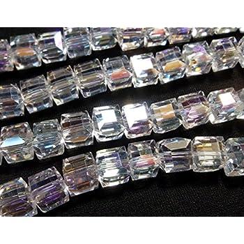 4mm Würfel BEST X237 20 TSCHECHISCHE KRISTALL PERLEN GLASPERLEN Grau AB