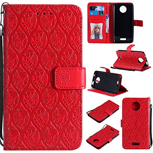Motorola Moto C Case Cover,Meroollc Grip Phone Case Slim Anti-Scratch Wallet Case [Card Pocket] Protective Shell Armor Hybrid Shockproof Rubber Bumper Cover with Card Slot Holder - Red