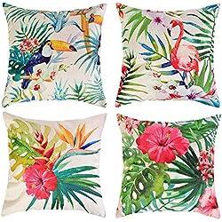 Hoomall Lot de 4 Tropical Feuilles Housses de Coussin Decoratif Lit Linge Coton Oreiller Maison Carré Décor Taie d'oreiller Sofa Housse de Coussin Décoratif Coton Lin 45x45cm (#4)