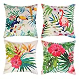 JuneJour Set of 4/6 Throw Cushion Cover Pillow Cases Decorative Polyester Linen Square SingleSided Printing Pillow Covers for Home Office Sofa Couch Car 45 * 45cm (Tropical, 18 x 18 inches)