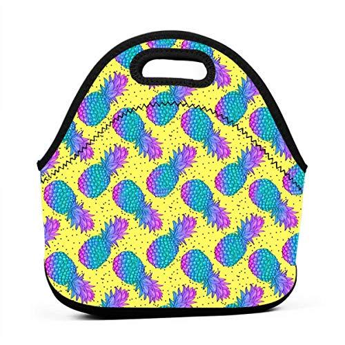 Bidetu Ananas kreative Muster isoliert Lunchpaket für Frauen Männer, auslaufsicher thermische Wiederverwendbare Lunchbox für Erwachsene und Kinder, Lunch Cooler Tote für Büroarbeit (Lunch-box Molle)