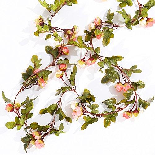Malayas 1 Stück Blumengirlande Künstliche Rose Vine 220cm Fake Rose Girlande Reben Hängende Seide Blumen für Office Home Hochzeit Garten Dekoration - Orange