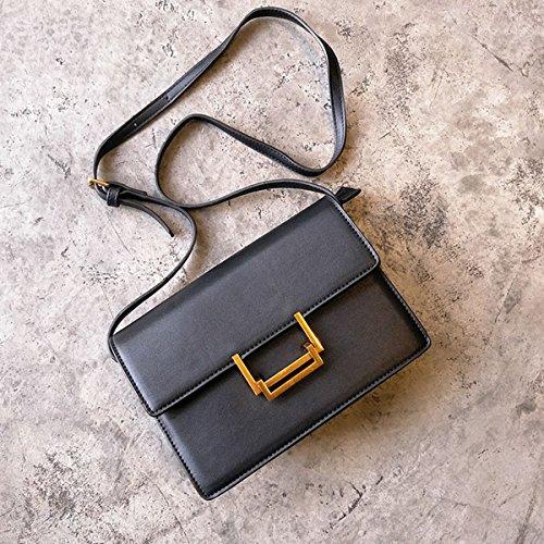 Weibliche einfache Retro kleine quadratische tasche stewardess tasche Schulter messenger bag Schwarz