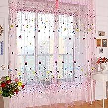 Romántica del globo del corazón impresión de Peach cortina escarpada panel de la ventana balcón Tul-Rosa