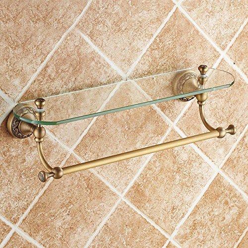DZXYA Rame antico vetro ripiano tavolo da toeletta con asciugamano bar-bagno bagno rack