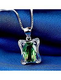 712ad73f8056 Marcu Home S925 Collar de Plata Esterlina Femenino Simple Piedra Esmeralda  Colgante Cadena de Clavícula Mujer