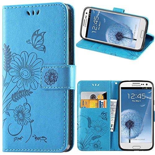 kazineer Galaxy S3 Hülle, Leder Tasche Handyhülle für Samsung Galaxy S3 / S3 Neo Schutzhülle Blume Muster Etui Schale Case - Türkis blau
