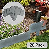 5m Grey Stone Effect Lawn Grass Edging | Garden Plant Flower Bed Border | M&W [UK-Import]