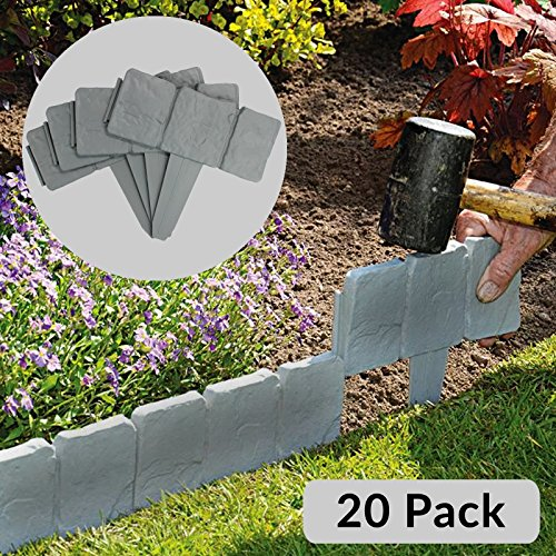 5m Grey Stone Effect Lawn Grass Edging | Garden Plant Flower Bed Border | M&W