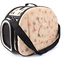Petlicious & More Portable Foldable (Beige) Pet Carry Bag Travel Shoulder Puppy Cat Outdoor Carrier Soft EVA Breathable…