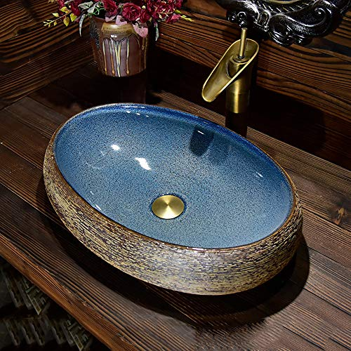 APENCHREN Badezimmer blau gehärtetes Glas Waschbecken, Schminktisch Pool Bowl Wasserfall, ohne Wasserhahn, Art Oval Basin,LargeA -