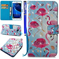 EUWLY Case for Samsung Galaxy J5 2016,Samsung Galaxy J5 2016 Leather Wallet Case 3D Stereoscopic Painting Ultra-Thin Slim PU Leather Protective Sleeve Stand Feature with Lanyard Book Style Magnetic Closure Anti-Scratch Anti-Shock PU Leather Wallet Elegant Classic Flip Folio Cover Case with Card Slot and Banknotes Pocket for Samsung Galaxy J5 2016 + 1 x Blue Stylus Pen - Flamingo