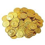 150 Pezzi Gioco denaro gettoni per bambini | Tesoro d'oro per Party pirata | Monete finte per giocare | Giochi omaggi per bambini per compleanno e Natale