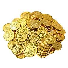Idea Regalo - 150 Pezzi Gioco Denaro gettoni per Bambini | Tesoro d'Oro per Party Pirata | Monete finte per Giocare | Giochi omaggi per Bambini per Compleanno e Natale