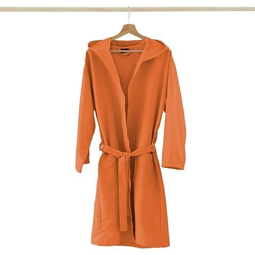 Accappatoio Adulto Microfibra con Cappuccio + Borsa Uomo Donna, Colori Vari V851 S Arancione