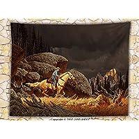 Western decoración manta de forro polar un Rock Mountain escena paisaje con un Cowboy montando a