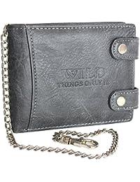 9fb3ffe33523 PU Leather Wallet for Men Bikerwallet CA$H with chain black brown grey