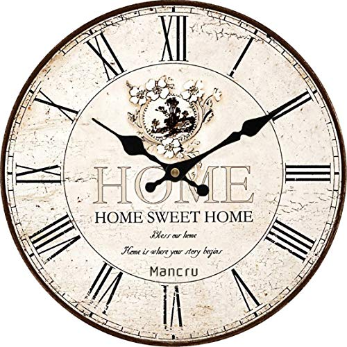 2fdd59a1cdc Mancru 1CM Thickness Vintage Not Cover Silence Wall Clock Shabby Wooden  Large Round Non-ticking