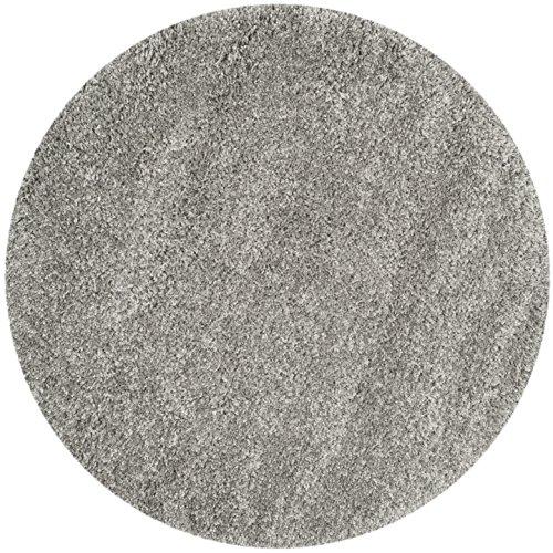 Gewebte Shaggy Shag (Safavieh Shaggy Teppich, SG151, Gewebter Polypropylen Teppich Runde, Silber, 121 x 121 cm)