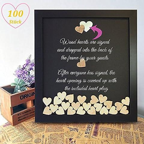 Holzherzen, innislink 40mm Herz Holz Scheiben natur Herz Tischdeko Hochzeit unlackiert natürliche DIY Handwerk Verzierungen, 100 Stück