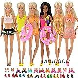 Miunana Kleider für Barbie Puppen Kleidung + Schuhe + Zubehör (5 Badeanzug + 5 Pantoffel + 2 Schwimmreifen)