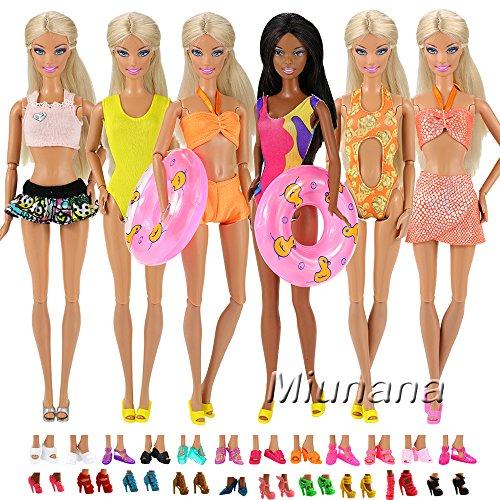Miunana 5 Maillot de Bain Aléatoires pour Barbie + 5 Paires de Chaussures ou Sandales Aléatoires + 2 Bouée pour Poupée Barbie
