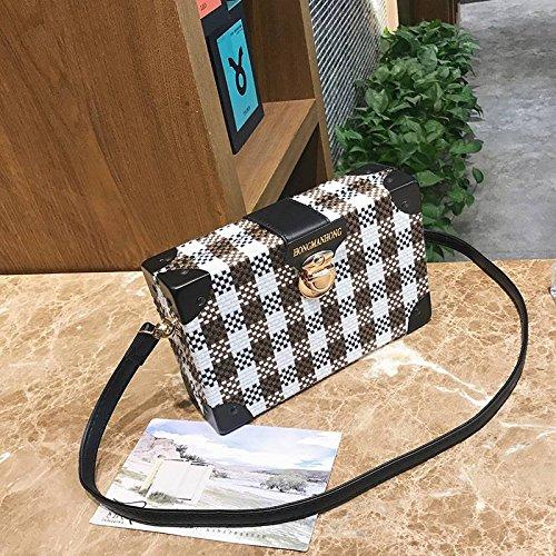 Preisvergleich Produktbild YTTY Es Wird Erwartet, Dass Eine Kleine Quadratische Gitterbox Tasche Wilde Schulter Diagonal Paket, Gelb und Weiß