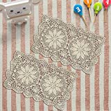 Yizunnu Vintage Crochet Lace Doilies - Manteles Individuales (algodón, 27 x 43 cm), diseño Floral...