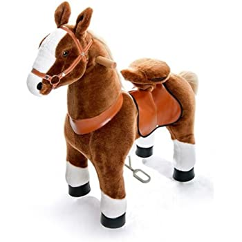 Blanc Mane Blanc Moyen Ponycycle cheval /à roulettes Noir