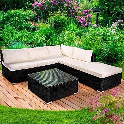 "Poly Rattan Gartenmöbel Lounge Möbel Sitzgarnitur Gartengarnitur Sitzgruppe Sofa ""Oase"" Farbe Schwarz"