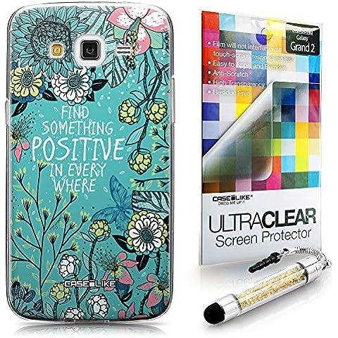 CASEiLIKE Flores florecientes turquesa 2249 Bumper Prima Híbrido Duro Protección Case Cover Funda Cascara for Samsung Galaxy Grand 2 +Protector de