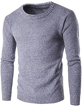 Casual Manga Larga Jersey para Hombre, Honghu Ocio Cuello Redondo de Punto Sweater Gris claro XL