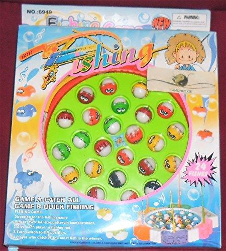Drehende magnetischer Angelspiel Double Fish Pool Elektrische Spielzeug mit der Musik-Licht für Kinder 3 Jahre alt und Up,36 Stück (Blau/Orange,Farbe zufällig) (Pool-licht Große)