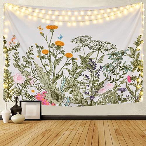 """Mazheny Tapisserie Moon Phase Change Wandbehang Tapisserie, Wandteppich mit Art Nature Home Dekorationen für Wohnzimmer, Schlafzimmer Dekor (Blumen Pflanzen, 51.2"""" x 59.1"""")"""