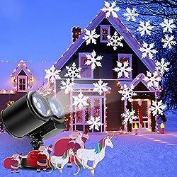 Luces de Proyector Navidad, B-right Luces de Proyector con Copo de Nieve de Color Blanco, Luz de Proyección Impermeable Perfecto para Navidad Boda Decoración Jardín Halloween Fiestas Carnavales, etc