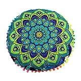 LuckyGirls Kissenbezug 43 x 43 cm Indische Mandala Boden Kissen runde böhmische Kissen Abdeckung (F)