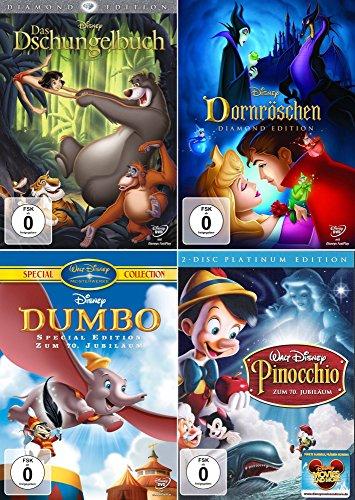 Preisvergleich Produktbild Walt Disney Collection 3   Das Dschungelbuch - Diamond Edition + Dornröschen - Diamond Edition + Dumbo - Special Edition + Pinocchio - Platinum Edition (5-Disc)