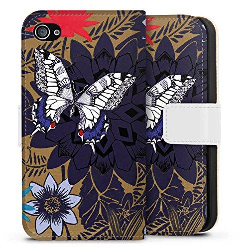Apple iPhone X Silikon Hülle Case Schutzhülle Schmetterling Blumen Pflanzen Sideflip Tasche weiß