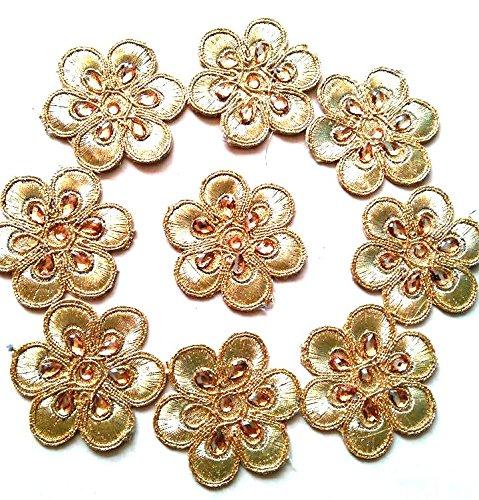 Golden Round Flower Motif Saree Patches For Diy Sarees, Dupattas, Dresses, Other...