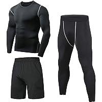Niksa 3 Pezzi Fitness Palestra Completi Sportivi da Uomo Abbigliamento Sportivo,Compressivo Maglie e T-Shirt Pantaloni…