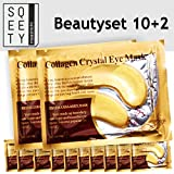10+2 Pairs of The Real Gold Collagen Eye Pads with Hyaluronic Acid – No more Bags under Your Eyes! – Anti-Aging – by sQeety