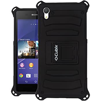 Sony Xperia Z2 Case Cover : [Cubix] Armor Jacket Series Dual Layer Hybrid Shock Proof Kickstand Case Cover for Sony Xperia Z2 (Black)