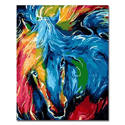 Marco de madera, Pintura por números Bricolaje DIY Pintura al óleo vistoso león Impresión de la lona Mural Decoración hogareña Por Rihe